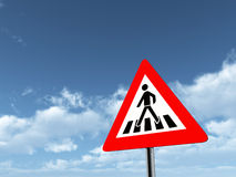 Warning Sign Zebra Crossing Royalty Free Stock Image