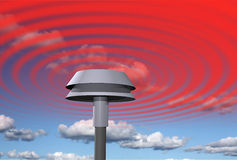 Warning signal from siren. Siren spreading general warning signal, sky background stock illustration