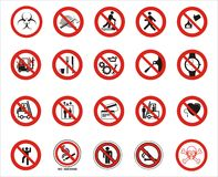 Warning signs. 20 warning signs on a white background Stock Photography