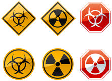 Warning signs. Set of six warning signs, biohazard and nuclear Stock Photos