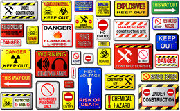 Warning Signs. Warning Sign Vectors. Keep Out, Danger, Construction Site royalty free illustration
