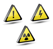 Warning signs. Warning, danger signs set, 3d illustration Royalty Free Stock Photo