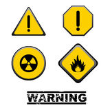 Warning signs. Set of yellow warning signs isolated on white background.EPS file available Stock Illustration