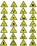 Warning signs. Collection of yellow warning signs Royalty Free Stock Images