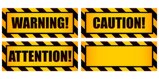 Warning Signs. A set of four warning labels including one left intentionally blank for use as a template vector illustration