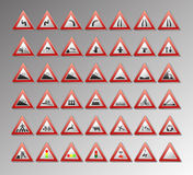 Warning signs. Warning traffic signs for your design Stock Photos