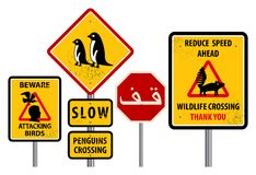 Warning signs. Traffic warning sign with text slow, Penguin crossing, Wildlife crossing Stock Photography