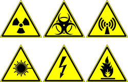 Warning signs. Signs warning of the dangers of radiation, the biological hazards of electromagnetic radiation of the laser radiation on the hazard of high Royalty Free Stock Photo