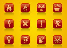Warning signs. Set of buttons with warning signs royalty free illustration