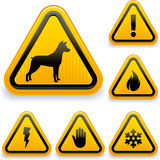 Warning signs. Vector illustration of diverse warning signs. Easy changes in vector file Stock Image