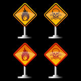 Warning signs. Warning fire and jolly roger signs Royalty Free Stock Photo