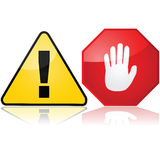 Warning signs. Set with two different warning signs, one showing an exclamation mark and another an open hand Stock Image