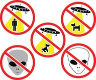 Warning signs for aliens Stock Photo