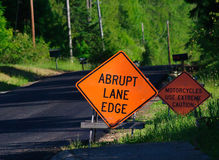 Warning Signs Along Rural Road Stock Photos