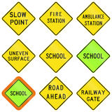 Warning Signs In Australia. Collection of road warning signs in Australia Stock Photography