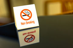 The warning signs banning smoke on the table. Royalty Free Stock Image