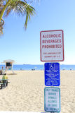 Warning Signs at the Beach Stock Photos