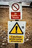 Warning signs on a beach Stock Photography