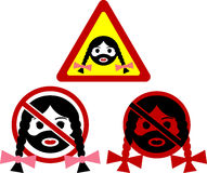Warning signs of bearded woman Stock Photography