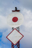 Warning signs for boats beware the submarine power line under w Royalty Free Stock Photo