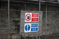 Warning signs on building site Stock Images
