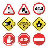 Warning signs - danger, risk, stress - flat design. Attention, warning  signs isolated on white Stock Photo
