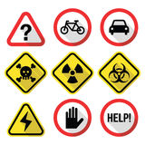 Warning signs - danger, risk, stress - flat design Stock Photography