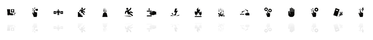 Warning Signs - Flat Vector Icons. Warning Signs icons - Black horizontal Illustration symbol on White Background with a mirror Shadow reflection. Flat Vector Royalty Free Stock Photos