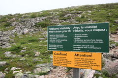 Warning Signs on Gros Morne Mountain Stock Image