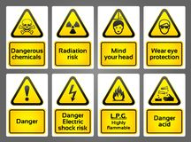 Warning Signs labes Stock Images