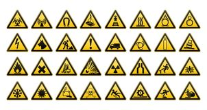 Warning signs large set. Safety in workplace. Yellow triangle with black image. Vector illustration. Warning signs large set. Big collection. Safety in Stock Images