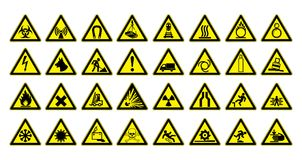 Warning signs large set. Safety in workplace. Yellow triangle with black image. Vector illustration. Warning signs large set. Big collection. Safety in Stock Photography