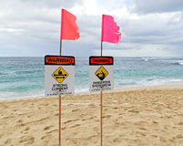 Warning signs on north shore oahu. Signs on Sunset Beach warn off strong current and a dangerous shorebreak Stock Images