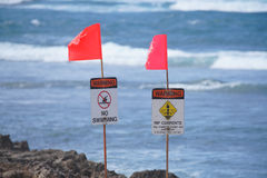 Warning Signs on Oahu's North Shore. During the winter months on Oahu, Hawaii, swimmers are warned not to enter the water on the islands famous north shore--a royalty free stock photography