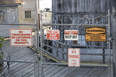 Warning signs old factory Royalty Free Stock Photos