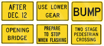 Warning Signs in Ontario - Canada. Collection of warning road signs in Ontario - Canada Stock Photos