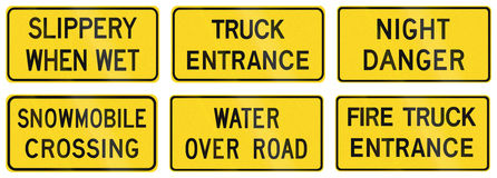 Warning Signs in Ontario - Canada. Collection of warning road signs in Ontario - Canada Royalty Free Stock Images