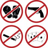 Warning signs for public places Stock Photos