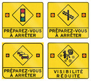 Warning Signs in Quebec - Canada Royalty Free Stock Image