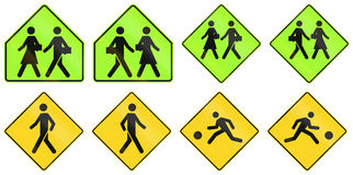 Warning Signs in Quebec - Canada. Collection of warning road signs in Quebec - Canada vector illustration