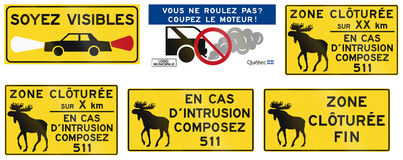 Warning Signs in Quebec - Canada. Collection of warning road signs in Quebec - Canada Stock Photography