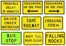 Warning Signs In Queensland - Australia. Collection of road warning signs in Queensland - Australia Stock Image