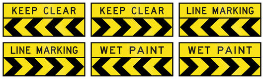 Warning Signs In Queensland - Australia. Collection of road warning signs in Queensland - Australia Stock Photo