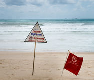 Warning signs about rip current at a beach. With storm clouds on background Stock Images