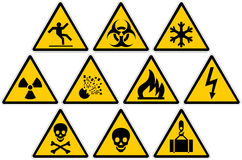 Warning Signs. A set of 10 warning signs Royalty Free Stock Images