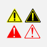 Warning signs set. Red yellow white triangle, editable vector image Stock Photography