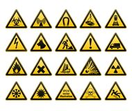 Warning signs set. Safety in workplace. Yellow triangle with black image. Vector illustrations. Warning signs set. Safety in workplace. Yellow triangle with Royalty Free Stock Photos
