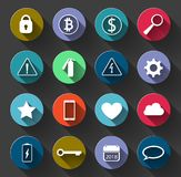 Warning Signs and Social Icons set with Long Shadow.Symbols used royalty free illustration