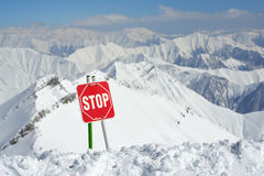 Warning signs STOP on slopes Royalty Free Stock Photography