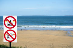 Warning signs for surfers in ballybunion Stock Photo